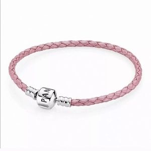 Braided Pink Leather Bracelet with Sterling Silver